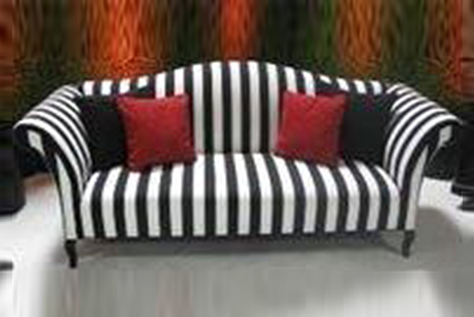 White Striped Double Seater Couch